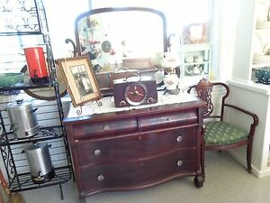 Beautiful Large Antique Dresser With Tilt Mirror Glass Hardware 4 Drawers