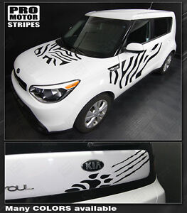 For Kia Soul 2008 2018 Hood Sides Rear Wild Cat Stripes Decals choose Color
