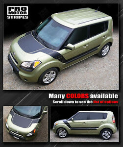 For Kia Soul 2008 2018 Hood And Side Accent Sport Stripes Decals choose Color
