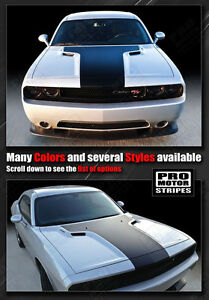 Dodge Challenger 2008 2019 Solid Style T hood Stripes Decals choose Color