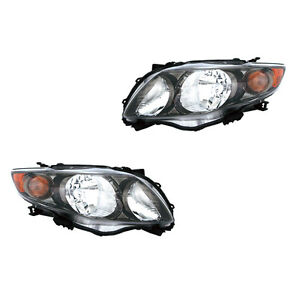 Fits 2009 2010 Toyota Corolla S Xrs Driver Passenger Headlight Assembly 1 Pair