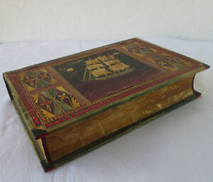 10 Antique Wooden Straw Box W Chessboard Ship Book Shaped Checkerboard