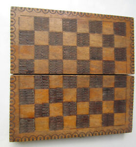 Antique Vintage Wooden Checkerboard Game Chess Box Ornate Pokerwork 6