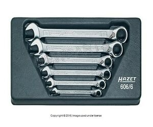 Combination Wrench Set Ratcheting 6 piece Set Hazet 606 6