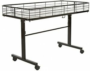 Folding Table Rolling Retail Display Fixture Commercial Storage Organizer Basket