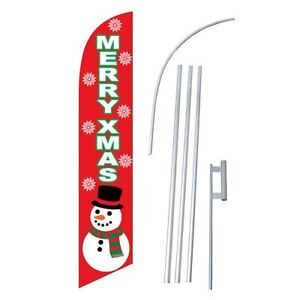Merry Christmas Swooper Flag Windless Feather Sign Kit Banner 2 5 Snowman