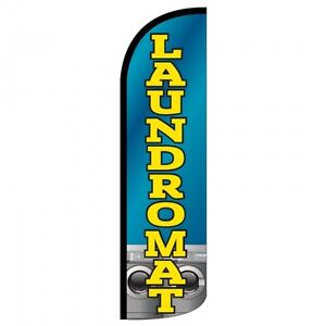 Laundromat Swooper Flag Only Windless 3 Wide Sign Banner Blue Yellow