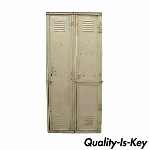 Vintage Steel Metal Double Gym School Locker 74 H Dexter Metal Mfg Beige Grey