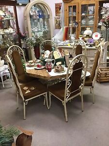 Vintage 70s Dinette Table W Metal And Velvet Brown Chairs