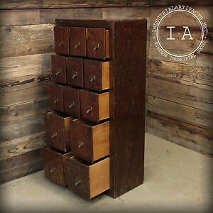 Vintage Industrial 13 Drawer Oak Card Catalog Style File Cabinet Storage Decor