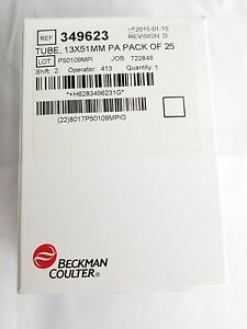 New Boxs Of 25 Beckman Coulter 13mm X 64mm Centrifuge Tubes 349623