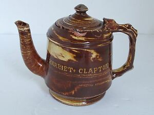 Antique Red Ware English Trailed Marbleized And Combed Teapot Harriet Clapton