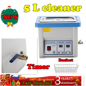 5l Liter Industry Heated Ultrasonic Cleaner Heater W timer New Stainless Steel