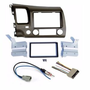 For Honda Civic 06 11 Taupe Radio Stereo Dash Kit W Wiring Harness Double 2 Din