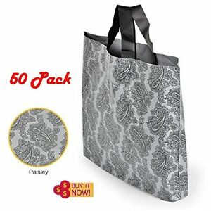 50 Pcs Gray Paisley Plastic Shopping Bags Wholesale Retail Bags Gift 12 x15 5