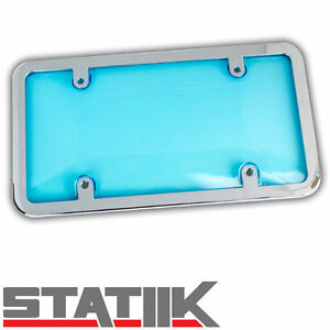 1pc License Plate Frame And Blue Tint Tough Shield Protector Cover S4