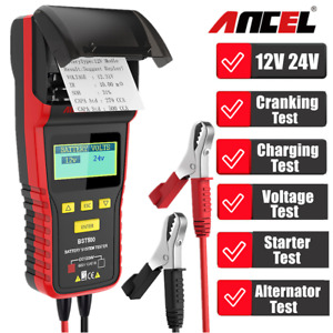 With Printer 12v 24v Car Heavy Truck Battery Tester Charge System Ancel Bst500