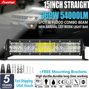 Cree 17 Inch 288w Led Light Bar 7d Lens Combo Offroad Driving 4wd Tractor 18