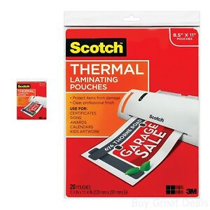 Scotch Thermal Laminator Laminating Pouches Photo Safe Fit Document 8 5x11 3 Mil