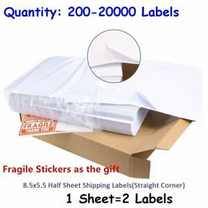 200 20000 8 5x5 5 Quality Shipping Labels Half Sheet Self Adhesive For Ups Fedex