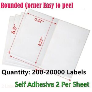 200 20000 Quality 8 5x5 5 Round Corner Shipping Labels Half Sheet Self Adhesive