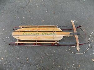 Vintage Wooden Snow Sled 53 Lightning Guider Sled