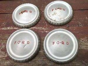 Set 4 Ford Oem Dog Dish Bottle Cap Hubcaps 9 5 Falcon Fairlane