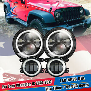Led Halo Headlights Led Fog Light Drl Combo Kit For Jeep Wrangler Jk 2007 2017