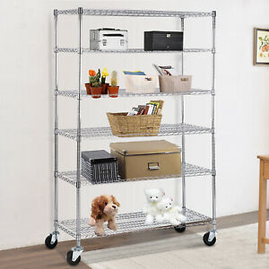 Heavy Duty 6 Tier 82 x48 x18 Wire Shelving Rack Steel Shelf Adjustable Chrome