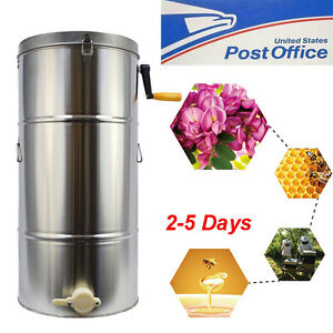 New 2 Frame Stainless Steel Honey Extractor Spinner Honeycomb Beekeeping 28 16