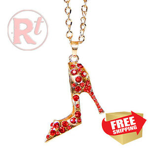 Gold Bling Shoe Mirror Charm Car Hanger Ornament Red Rhinestones With Chain