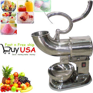 440lbs 220w Electric Ice Crusher Shaver Machine Snow Cone Maker Stainless Steel