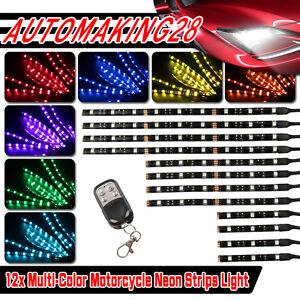 12pcs Color Led Motorcycle Under Glow Light Kit Keychain Remote Control Usa