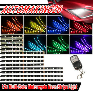 Universal 12pcs 5050smd Led Neon Under Glow Lights Strip Kit For All Motorcycles