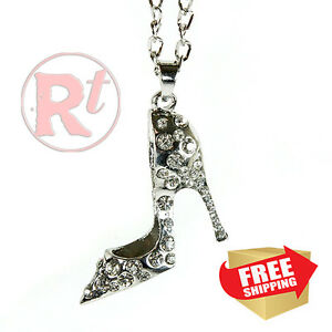 Silver Bling Shoe Mirror Charm Car Hanger Ornament Clear Rhinestones With Chain