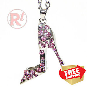 Silver Bling Shoe Mirror Charm Car Hanger Ornament Pink Rhinestones With Chain