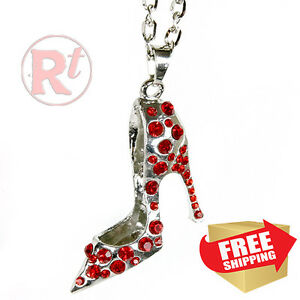 Silver Bling Shoe Mirror Charm Car Hanger Ornament Red Rhinestones With Chain