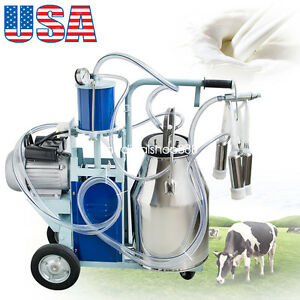Us electric Milking Machine Milker Piston Pump Cattle Dairy 25l Bucket 110v 220v