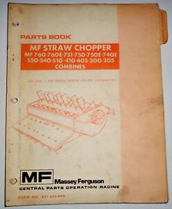Massey Ferguson Straw Chopper For 205 To 760 Combines Parts Catalog Manual Book