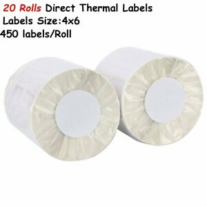 20 Rolls Direct Thermal Shipping Labels 450 roll 4x6 For Zebra Zp450 Eltron 2844
