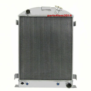Us Aluminum 4 Row Radiator For Ford Model A Chevy V8 Engine W Cooler 1937 1938