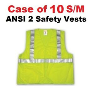10 Safety Vests S m High Visibility Ansi 107 Class 2 Tingley Fluorescent Mesh