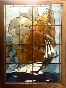 Vintage Large Stained Glass Tall Ship Magnificent
