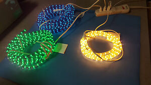 Led Rope Light Half Inch Diameter 2 Wire 120v 3 Colors Blue green white 67ft