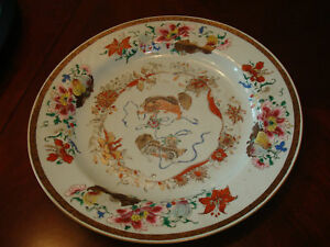 Antique Chinese Foo Dragon Lion Famille Rose Charger Plate 15 Yongzheng