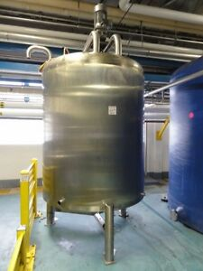 1 000 Gallon Walker Sanitary Stainless Steel Mix Tank W 3hp Mixer In Njh