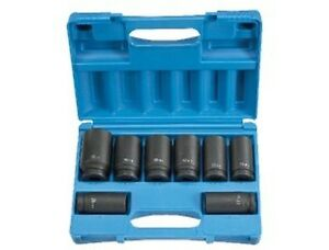 Grey Pneumatic 8134md 3 4 Drive 8 Piece 6 Point Deep Metric Impact Socket Set