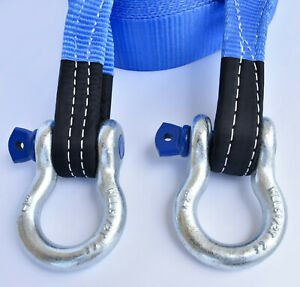 3 26 000lbs Tow Strap 20 Ft Off road Snatch Recovery W D ring Bow Shackle