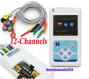 Ekg Ecg System 12 channel Color Lcd Holter Recorder 24 Hrs Synchro Analysis Ce