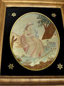 Antique 18th 19 C Colifichet Embroidery Of A Seated Woman With Sheep